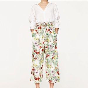 Zara Floral Culottes Size Large